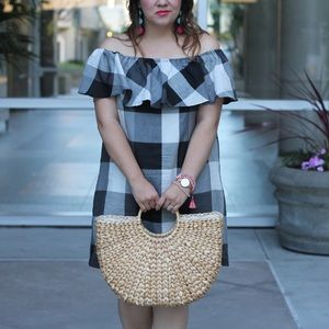 Who What Wear Gingham Bardot Ruffle Dress